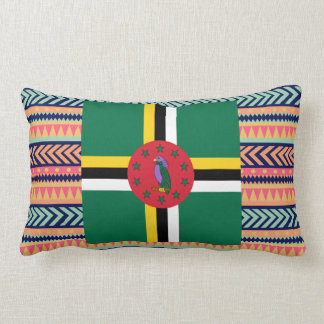 Colourful Dominica Flag Box Lumbar Cushion