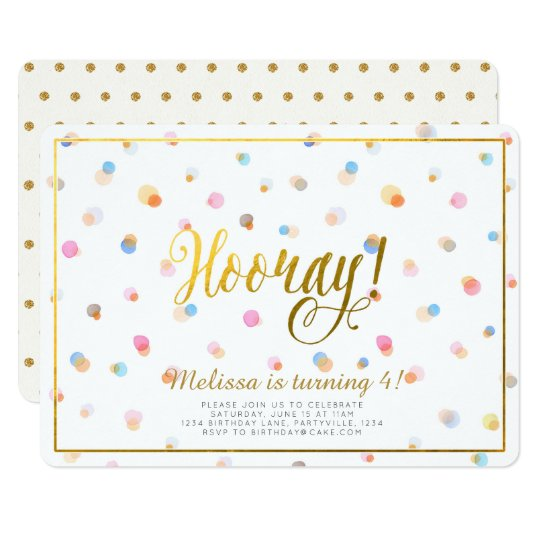 Colourful Dots Hooray Birthday Invitation