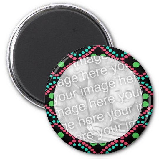 colourful dots photo frame magnet