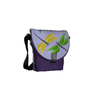 Colourful dragonfly messenger bags