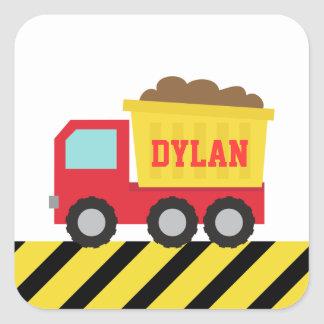 Colourful Dump Truck, Construction Vehicle, Boys Square Sticker