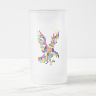 Colourful Eagle Frosted Glass Beer Mug