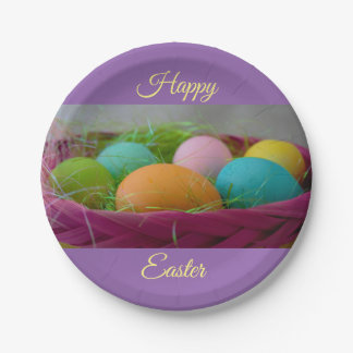 Colourful Easter Eggs Paper Plate