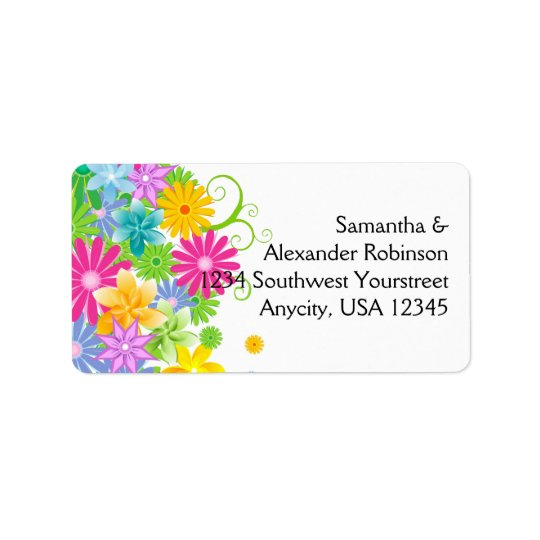 Colourful Easter Flower Bunch Label