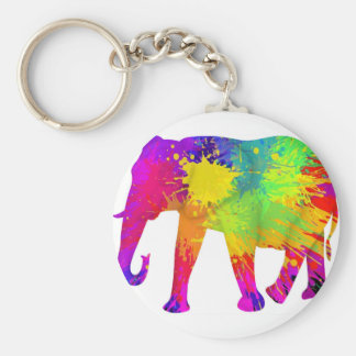 Colourful Elephant Design Basic Round Button Key Ring