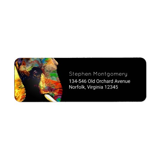 Colourful Elephant Head Portrait Drawing Return Address Label