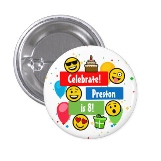 Colourful Emoji Birthday Party Kids or Boys Custom 3 Cm Round Badge