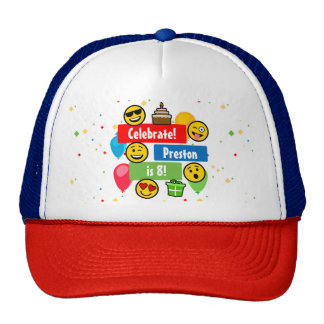 Colourful Emoji Birthday Party Kids or Boys Custom Cap