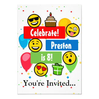 Colourful Emoji Birthday Party Kids or Boys Custom Card