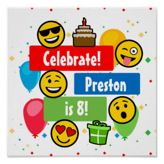 Colourful Emoji Birthday Party Kids or Boys Custom Poster