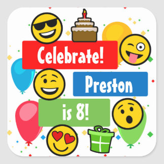 Colourful Emoji Birthday Party Kids or Boys Custom Square Sticker