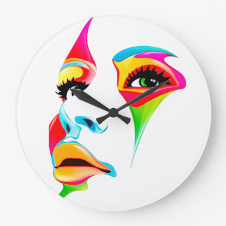 Colourful face Round (Large) Wall Clock