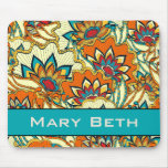 Colourful Fall Floral Personalised Mouse Pad