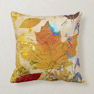 Colourful Fall Leaves Collage Custom Pillow