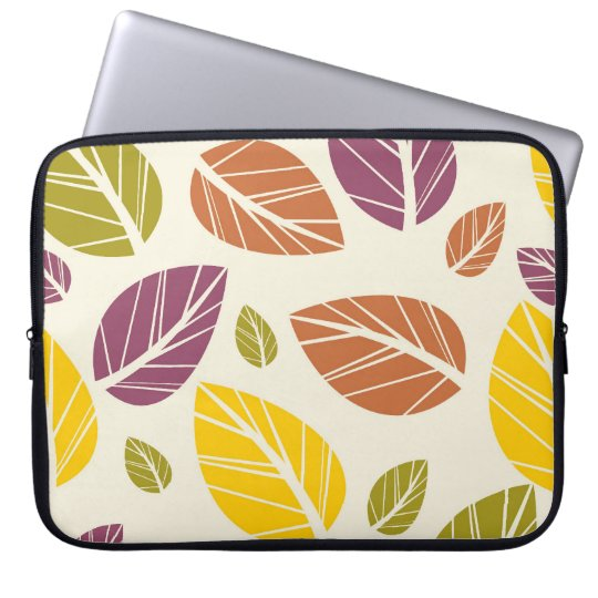 Colourful Fall Leaves Purple Maroon Yellow Green Laptop Sleeve