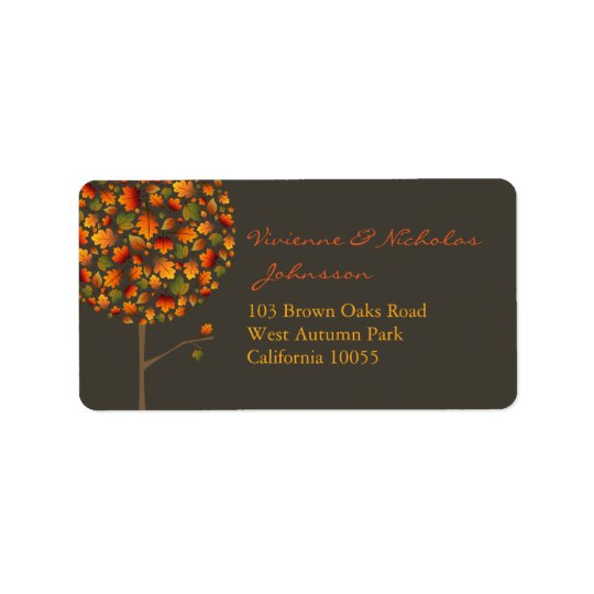 Colourful Fall Maple Leaves Pop Tree Address Address Label