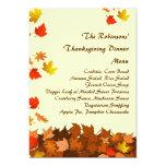 Colourful Falling Leaves Thanksgiving Dinner Menu 13 Cm X 18 Cm Invitation Card