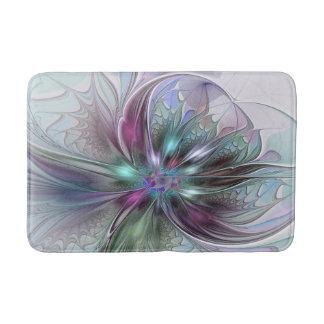 Colourful Fantasy Abstract Modern Fractal Flower Bath Mats