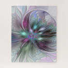 Colourful Fantasy Abstract Modern Fractal Flower Jigsaw Puzzle