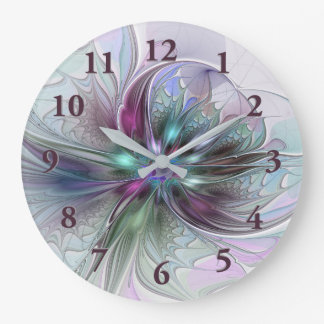 Colourful Fantasy Abstract Modern Fractal Flower Large Clock