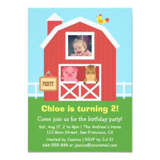 Colourful Farm Barnyard Animal Birthday Party 11 Cm X 16 Cm Invitation Card