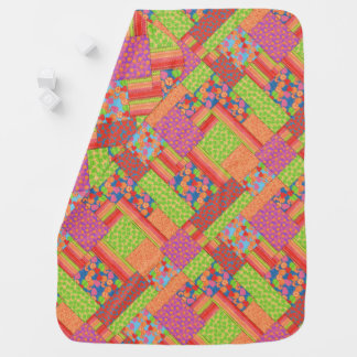 Colourful Faux Patchwork of Summer Fruits Patterns Baby Blanket