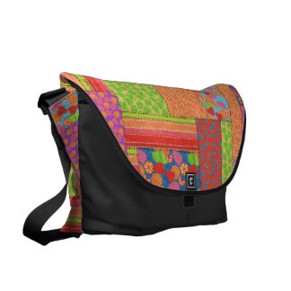 Colourful Faux Patchwork of Summer Fruits Patterns Courier Bag