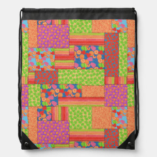 Colourful Faux Patchwork of Summer Fruits Patterns Drawstring Bag