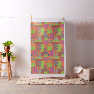Colourful Faux Patchwork of Summer Fruits Patterns Fabric
