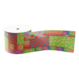 Colourful Faux Patchwork of Summer Fruits Patterns Grosgrain Ribbon