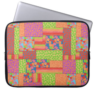 Colourful Faux Patchwork of Summer Fruits Patterns Laptop Sleeves