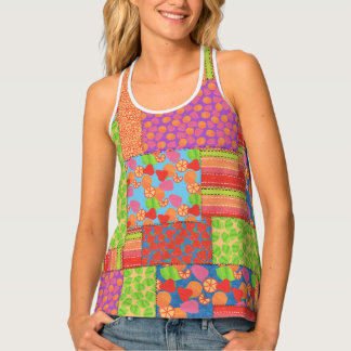 Colourful Faux Patchwork of Summer Fruits Patterns Singlet