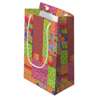Colourful Faux Patchwork of Summer Fruits Patterns Small Gift Bag