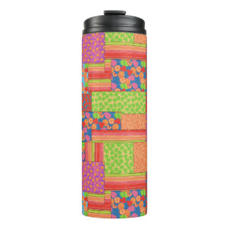 Colourful Faux Patchwork of Summer Fruits Patterns Thermal Tumbler