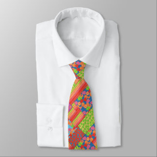 Colourful Faux Patchwork of Summer Fruits Patterns Tie