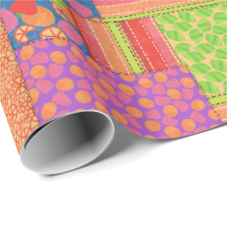 Colourful Faux Patchwork of Summer Fruits Patterns Wrapping Paper