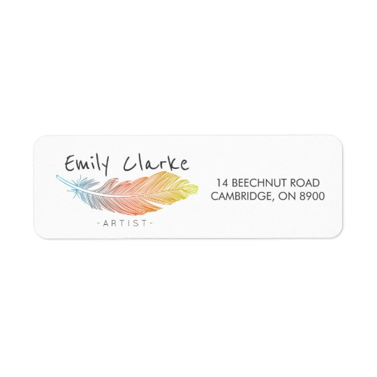 Colourful Feather Personalised Return Address Label