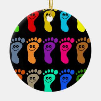 Colourful Feet Ceramic Ornament