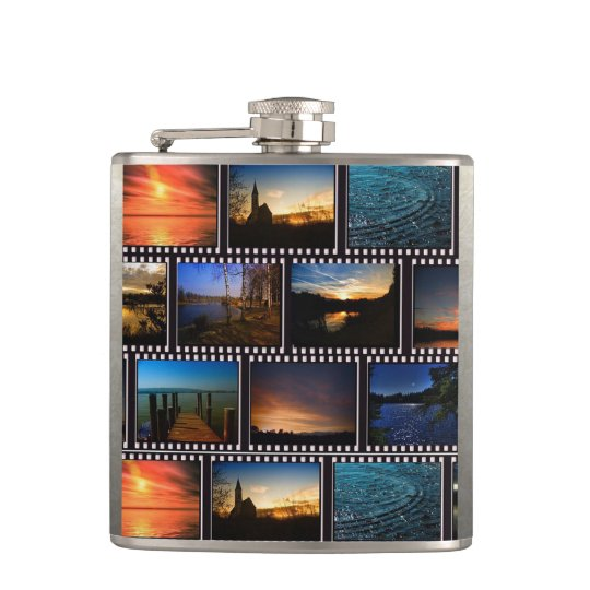 Colourful Film Strips Hip Flask