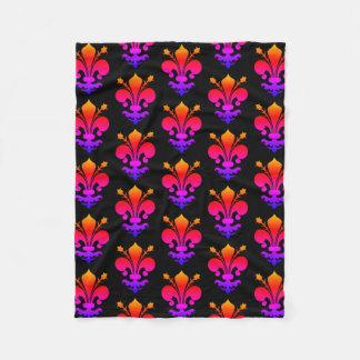Colourful fleur de lis pattern fleece blanket