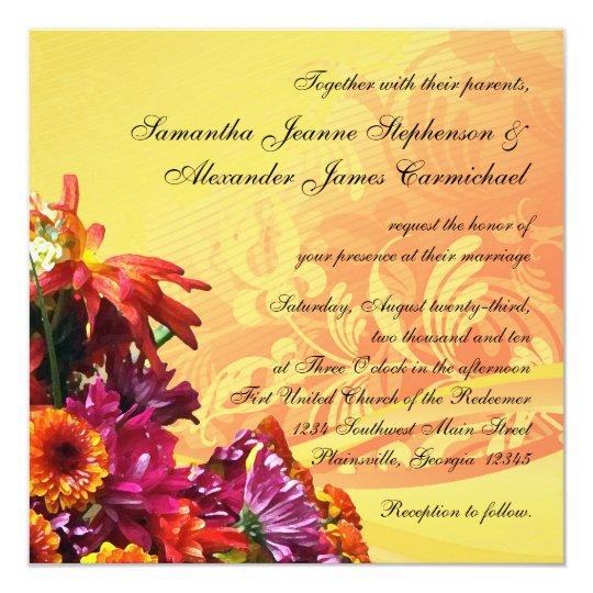 Colourful Floral Bouquet Orange/Yellow Design Card