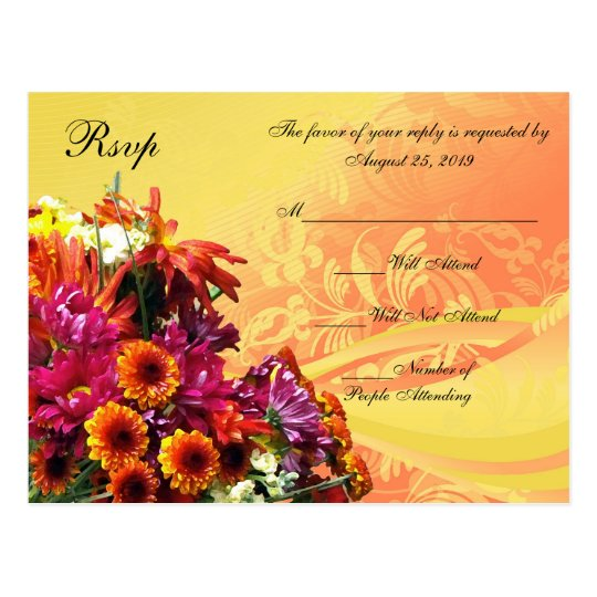 Colourful Floral Bouquet Orange/Yellow Design Postcard