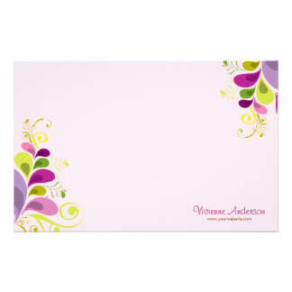 Colourful Floral Deco Leaves Nature Art Deco Chic Personalised Stationery
