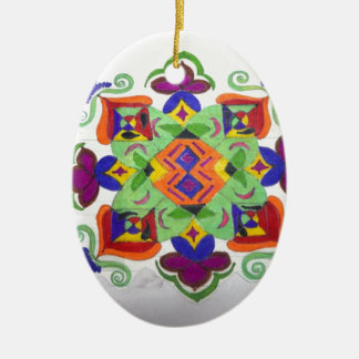colourful floral design on items ceramic oval decoration