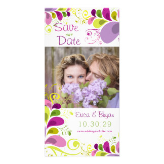 Colourful Floral Leaves Save The Date Photo Card