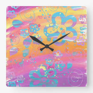 Colourful floral painting square wall clock