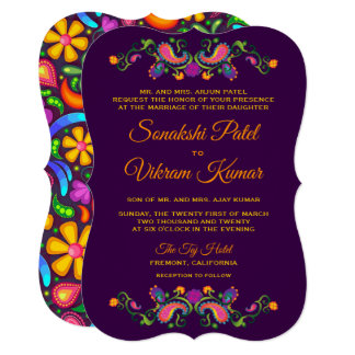 Colourful Floral Paisley Indian Wedding Invitation