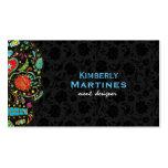 Colourful Floral Sugar Skull & Black Damasks Pack Of Standard Business Cards