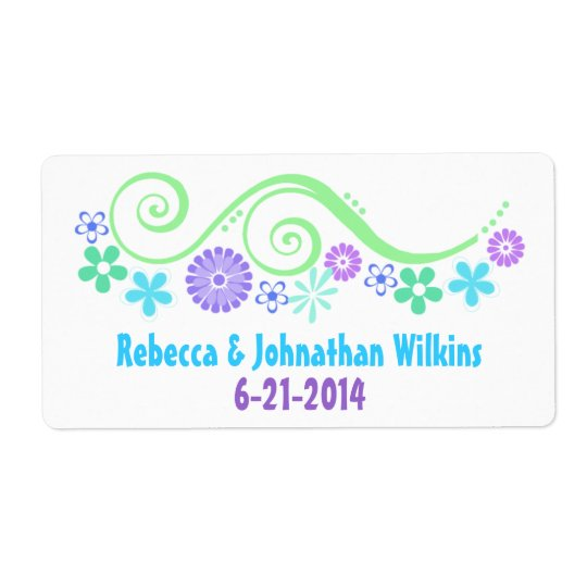Colourful Floral Wedding Wine Favour Label Shipping Label