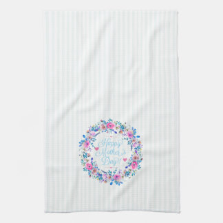 Colourful Floral Wreath Happy Mothers Day Hand Towels